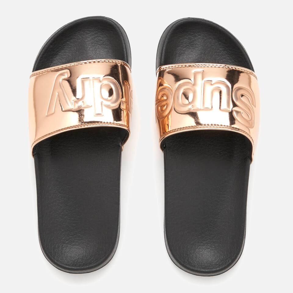 Superdry Women S Pool Slide Sandals Rose Gold Womens