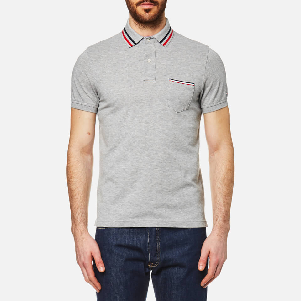 Tommy Hilfiger Mens Nate Polo Shirt Cloud Heather Clothing