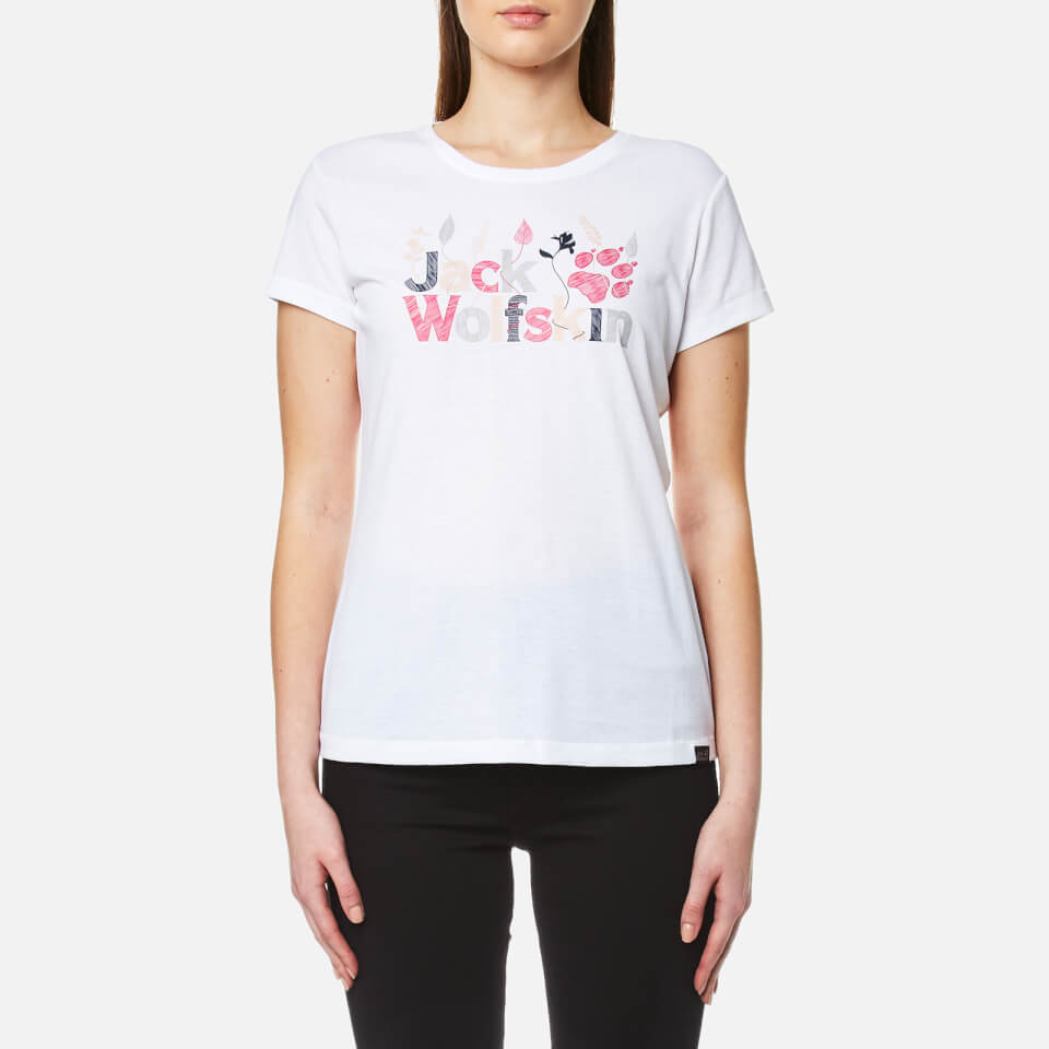 Jack Wolfskin Womens Brand Logo T-Shirt - White Rush -6346