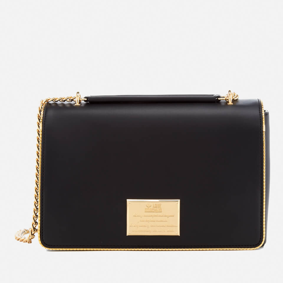 Love Moschino Women S Gold Plate Shoulder Bag Black