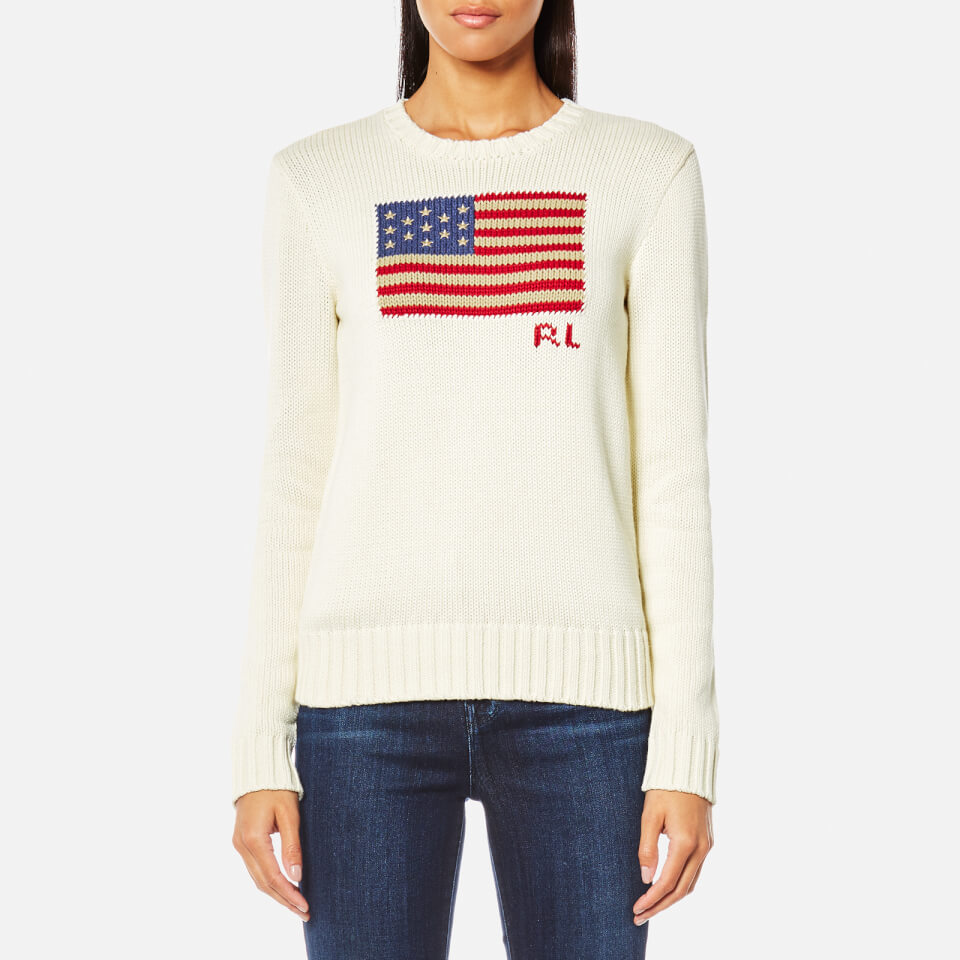 Lauren Polo Jumper Flag Cream Neck Ralph Crew Free Women's Multi 5qxSw7qH