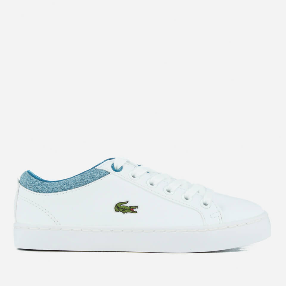 Lace Fastening Junior Boys Lacoste Straightset Trainers In White Cushioned