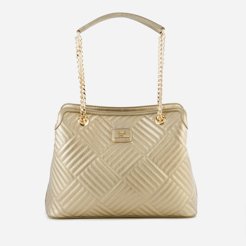 2125a8dda01 Love Moschino Women s Shiny Quilted Metallic Chain Tote Bag - Gold