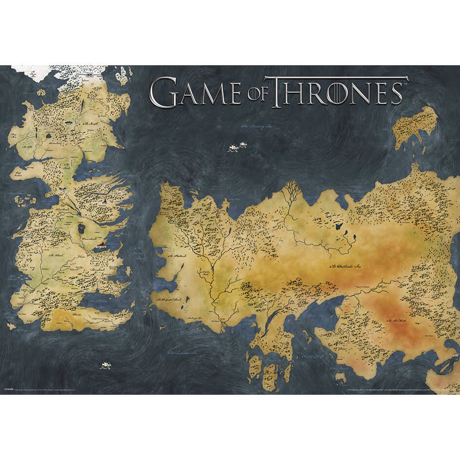Game Of Thrones Poster Westeros And Essos Antique Map