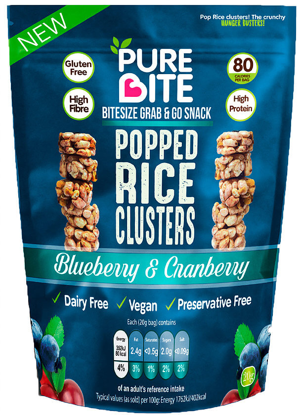 Buy Purebite Popped Rice Clusters Blueberry Amp Cranberry