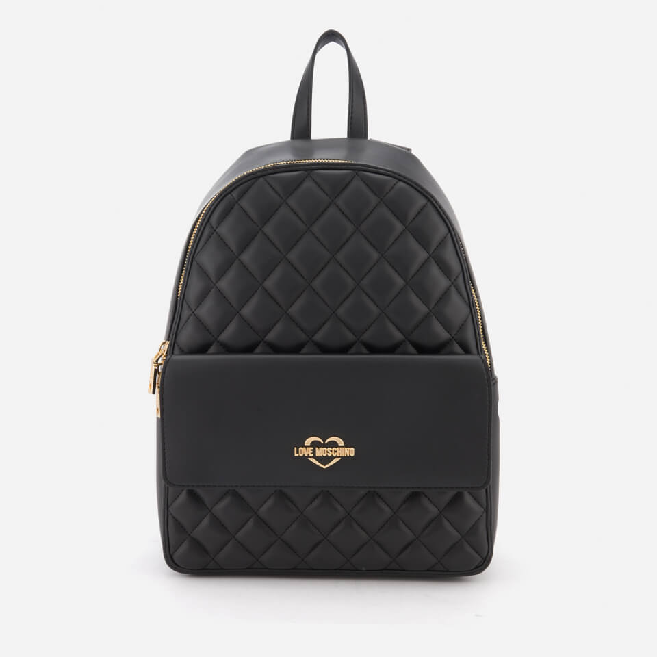Love Moschino Women S Quilted Logo Backpack Black