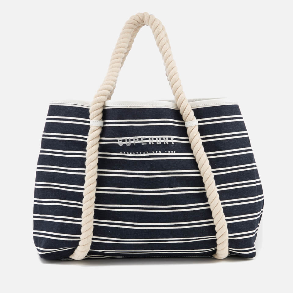 3169168487d6 Superdry Women s Bayshore Stripe Beach Tote Bag - Navy White Womens  Accessories