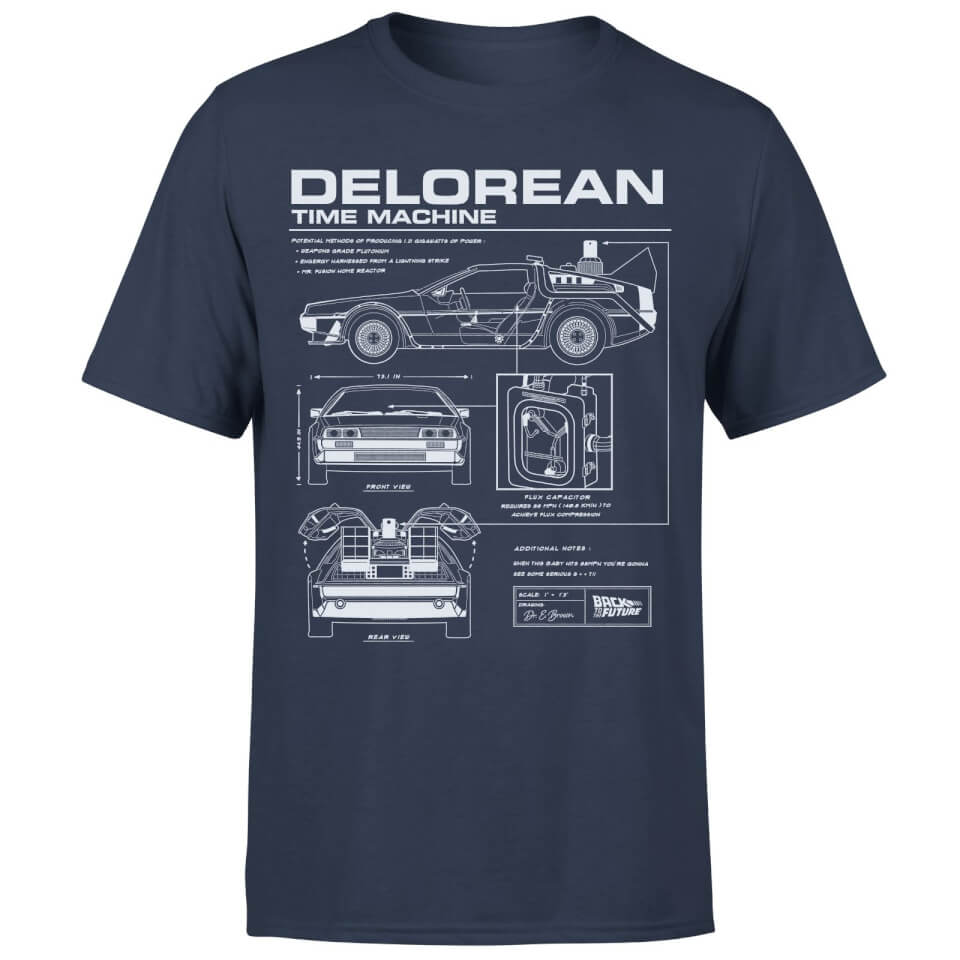 Back To The Future Delorean Schematic T Shirt Navy