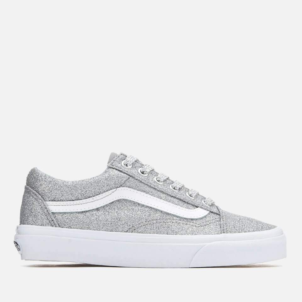 Vans Women's Old Skool Lurex Glitter Trainers SilverTrue White