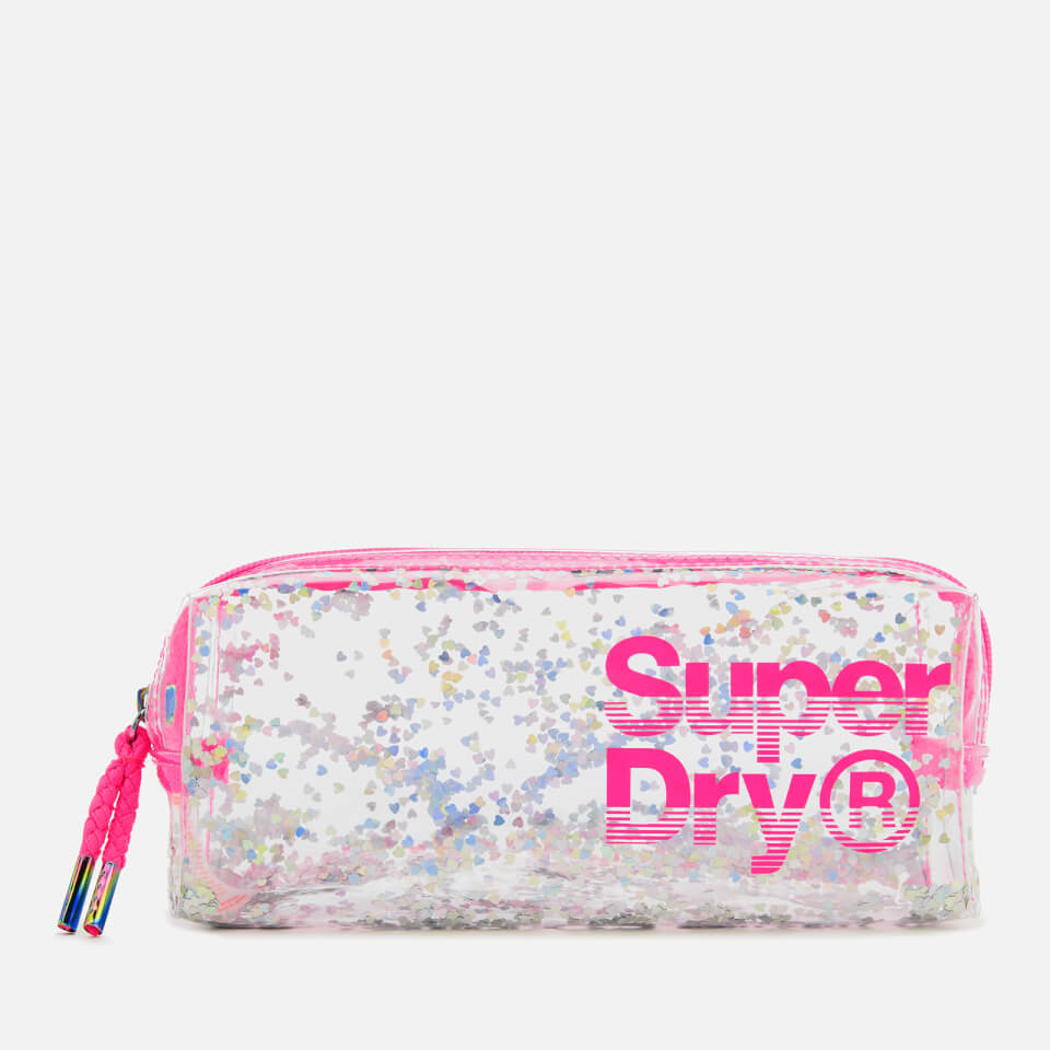 Superdry Women S Super Jelly Pencil Case Silver Heart