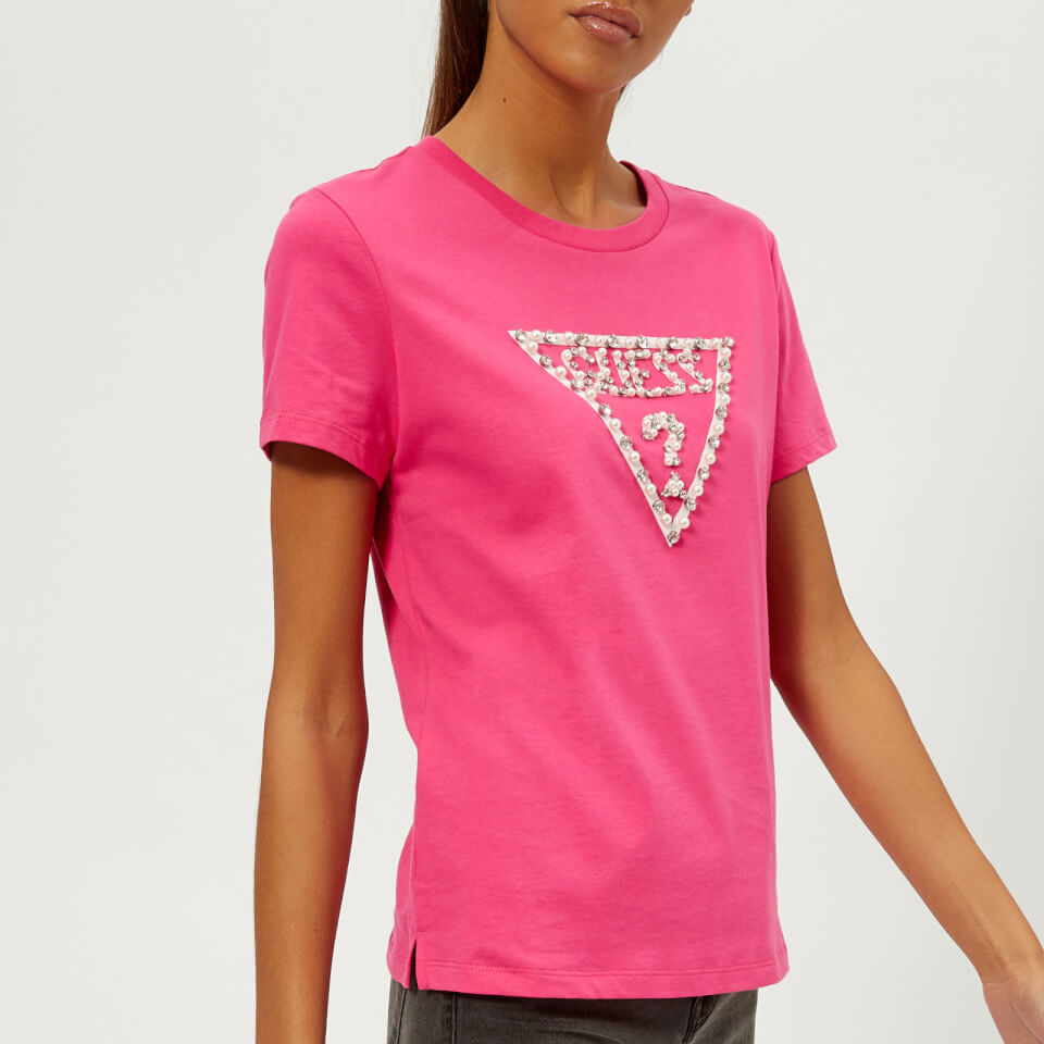 Guess Women S Short Sleeve Crew Neck Stone And Bead T