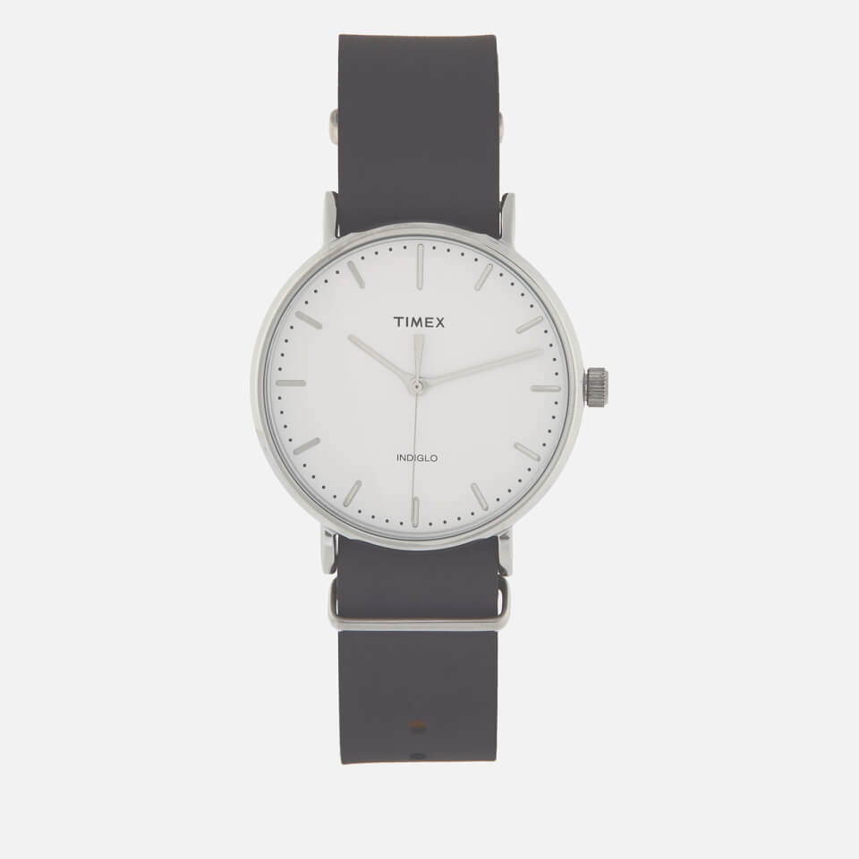 5772792998fa Timex Men s Fairfield 41mm Leather Strap Watch Gift Set - Silver-Tone Brown Blue  Clothing