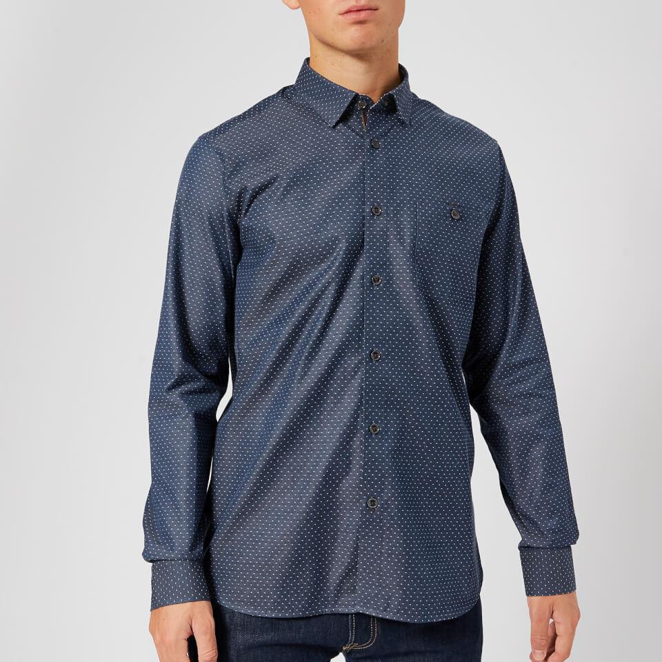Ted Baker Men S Birksey Long Sleeve Shirt Navy Mens
