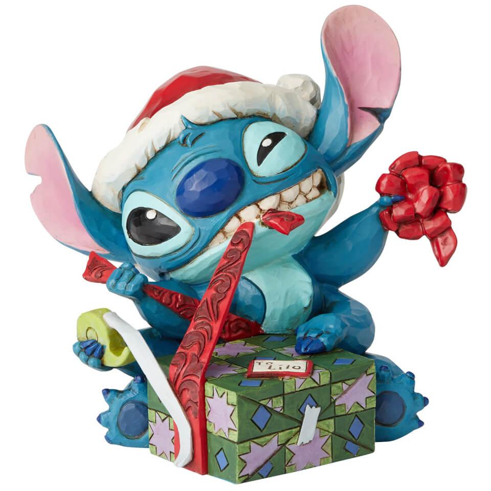 Disney Traditions Bad Wrap Stitch With Santa Hat Figurine