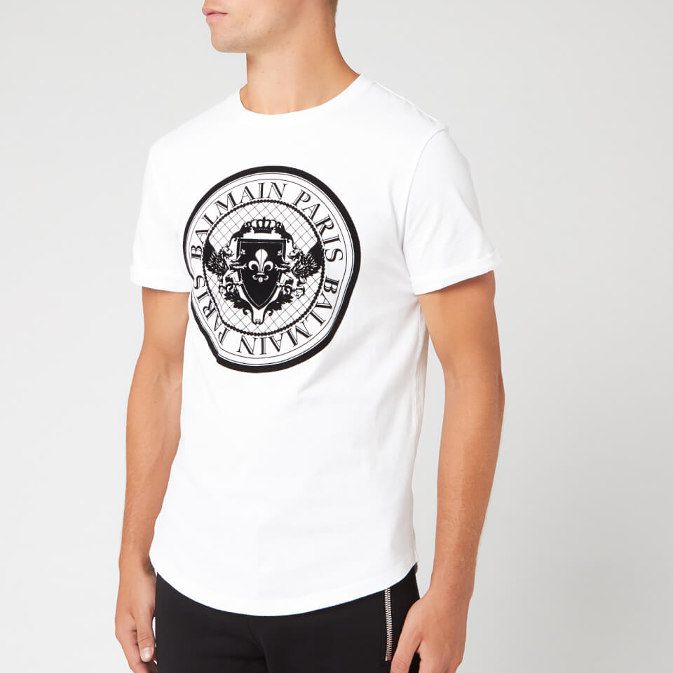 Balmain Men's Coin T Shirt   Blanc/Noir by Balmain