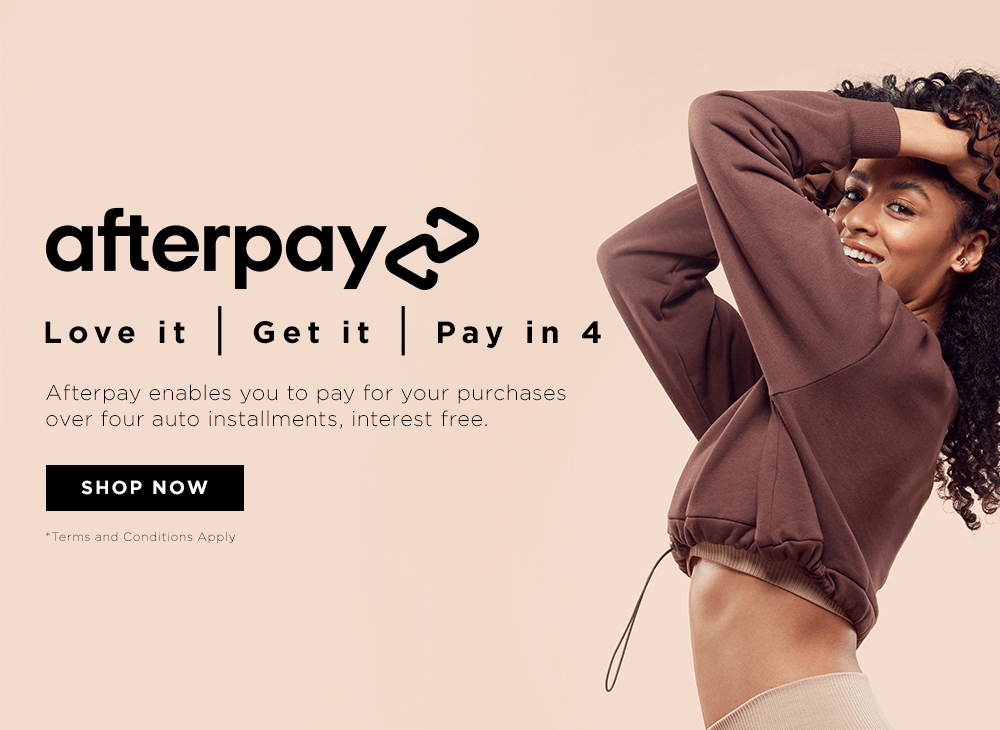 Afterpay enables you to pay for your purchases over four auto installments, interest free.