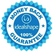 A badge signifying the 100% money back guarantee for IdealShape's meal replacement shakes.