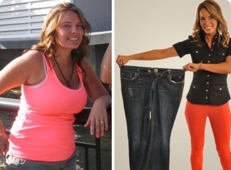 Before and after photos of a 27 year old woman who lost 67 pounds using IdealShape meal replacement shakes.