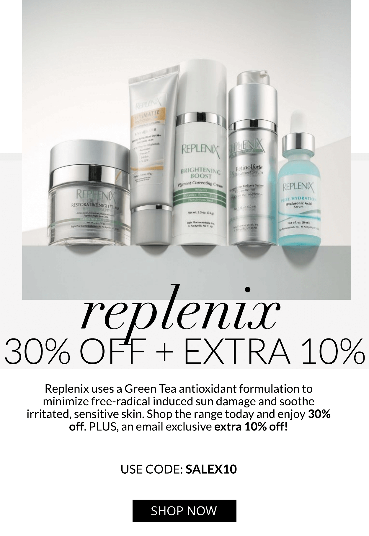 REPLENIX: 30% OFF + EXTRA 10% + FREE GIFT