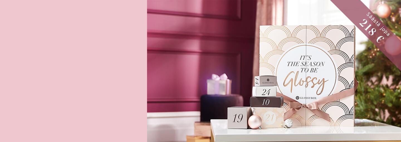 Vuoden ylellinen GLOSSYBOX Joulukalenteri (arvo yli 440 €) sisältää ihanan yllätyksen joka päivä aina jouluaattoon asti. Hyödynnä pakettitarjouksemme ja jaa ilo ystävän, perheenjäsenen tai kollegan kanssa ja laskekaa jouluun yhdessä!