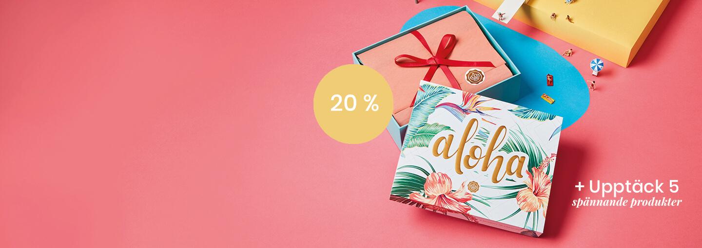 GLOSSYBOX Juli Aloha Edition - Bli prenumerant idag och få din första box för endast 127 kr! Uppge kod: 20ALOHA när du startar löpande prenumeration.