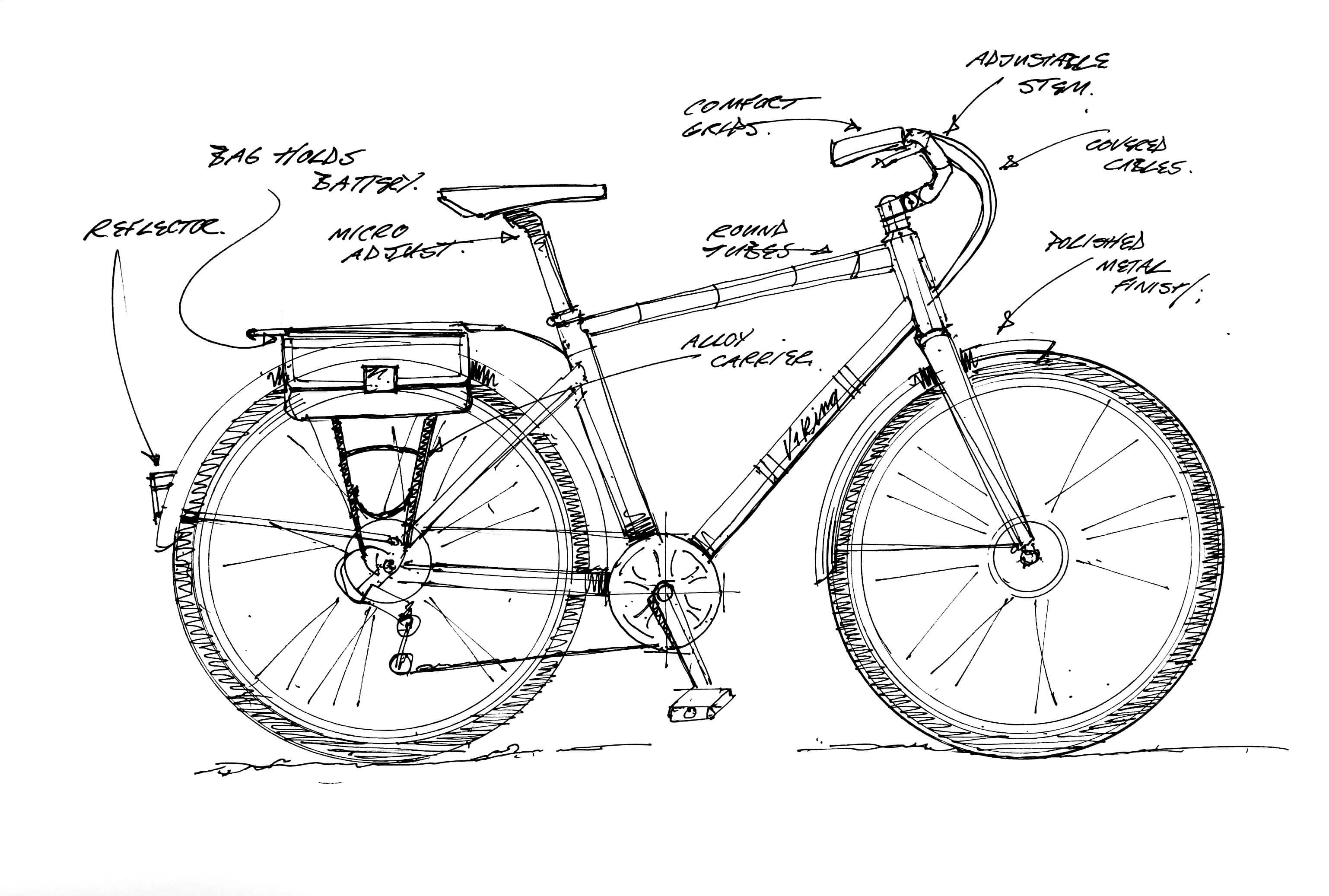 Original Drawing of Viking Bike