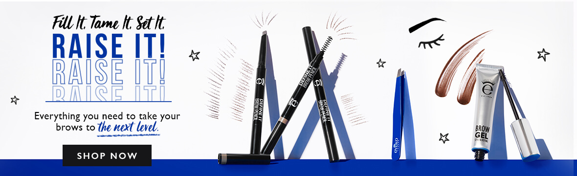 Brows Product Banner including our brow pencils , brow gel and tweezers imagery