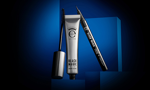 Imagery of our Iconic Black Magic Mascara and Black Magic Eyeliner