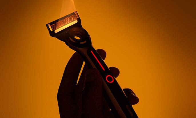 Gillette Heated Razor in hand
