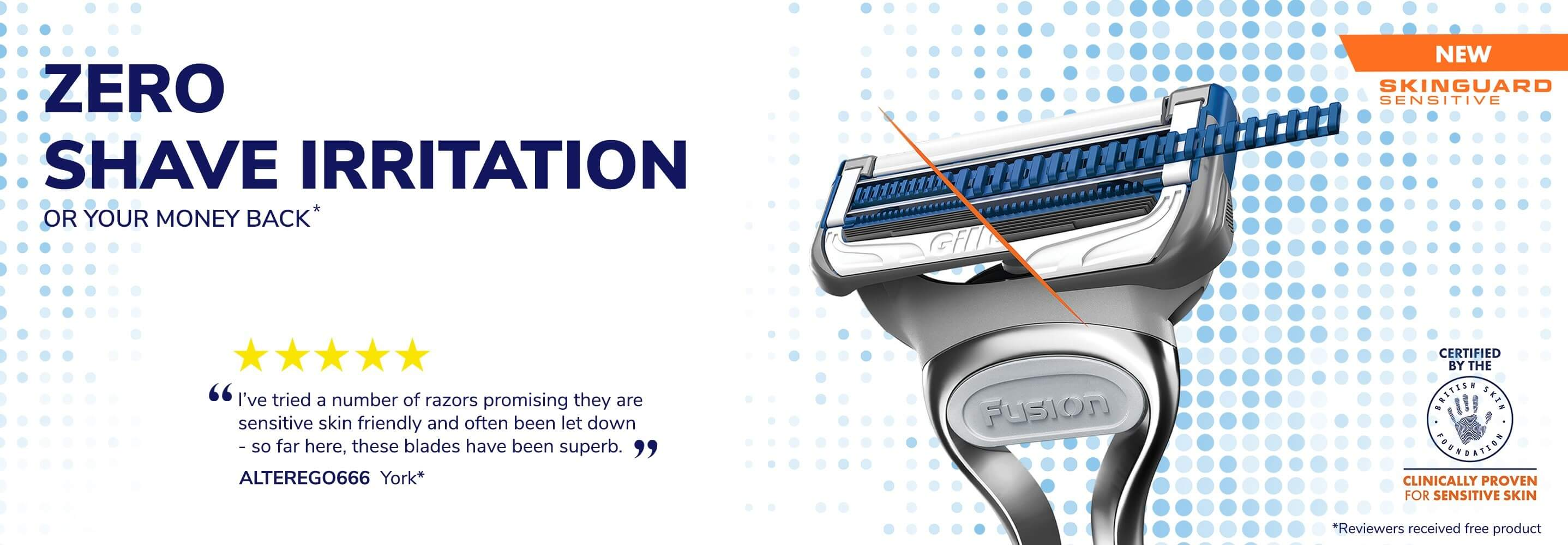 Gillette Skinguard Sensitive Zero Shave Irritation.