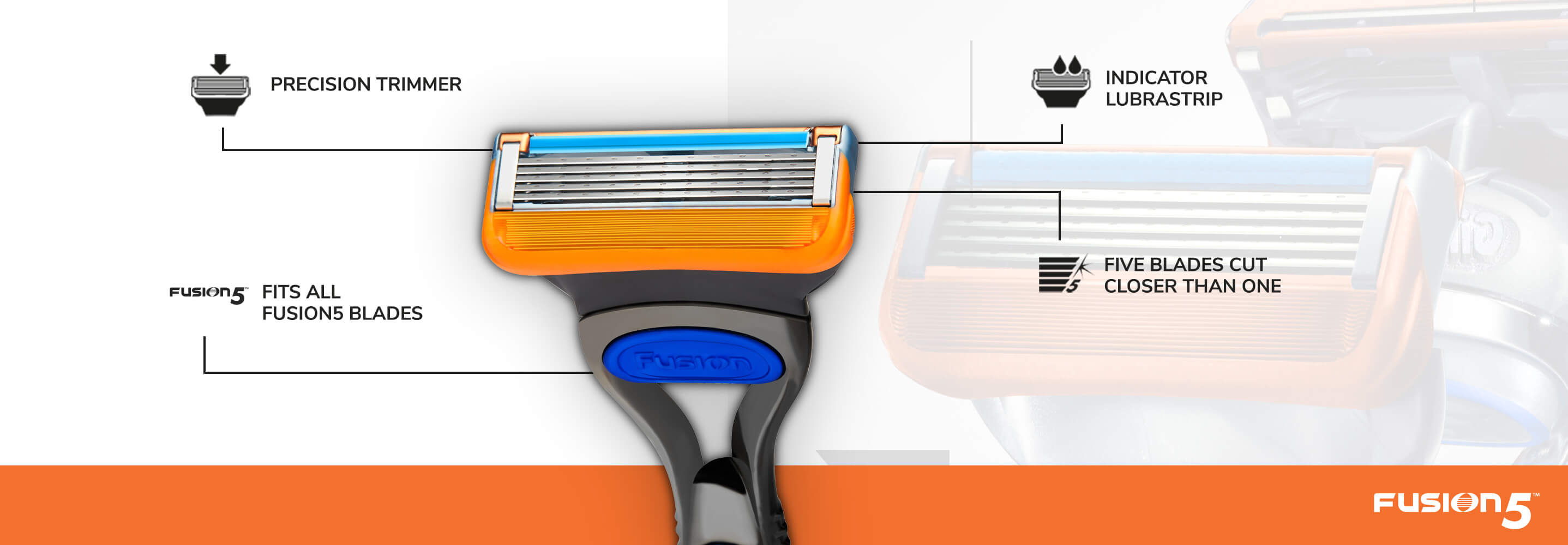 Illustration of Gillette Fusion5 razor.