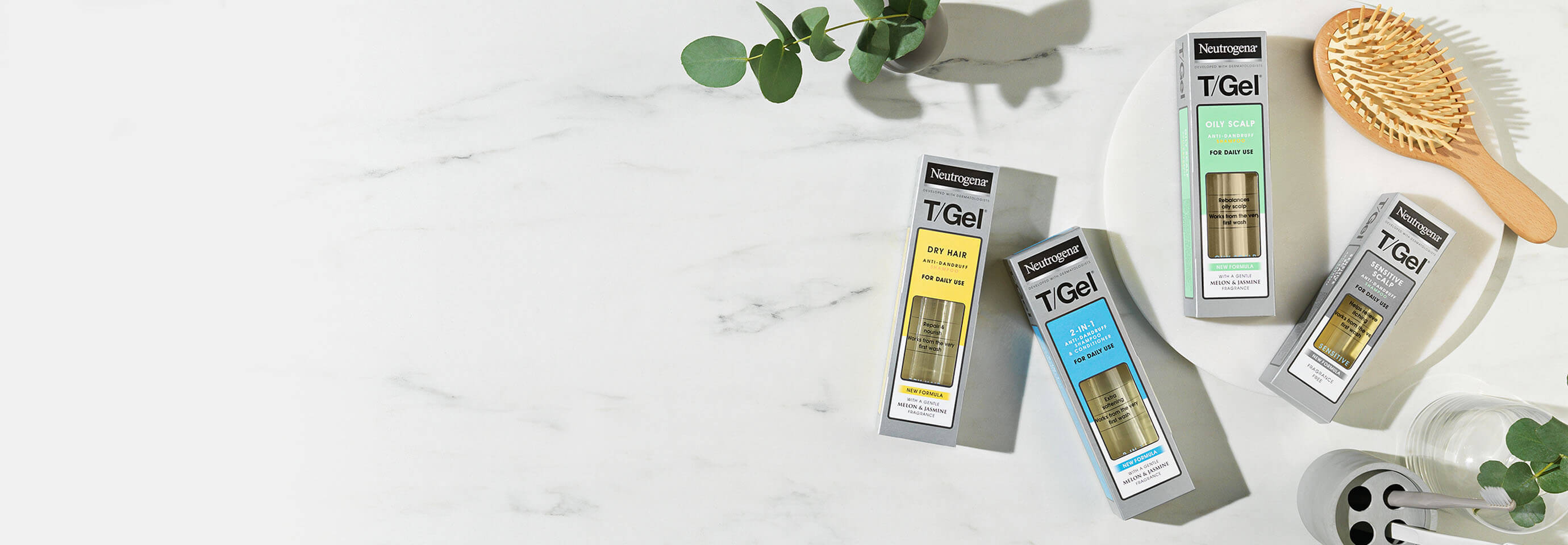 T/Gel. Shampoos designed to help clear your dandruff and fight flakes.