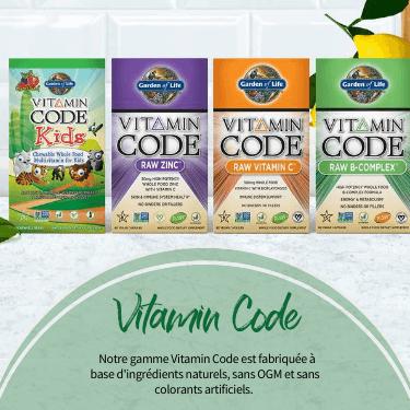 Vitamin Code.  Notre gamme Vitamin Codeest fabriquée à base d'ingrédients naturels, sans OGM et sans colorants artificiels.