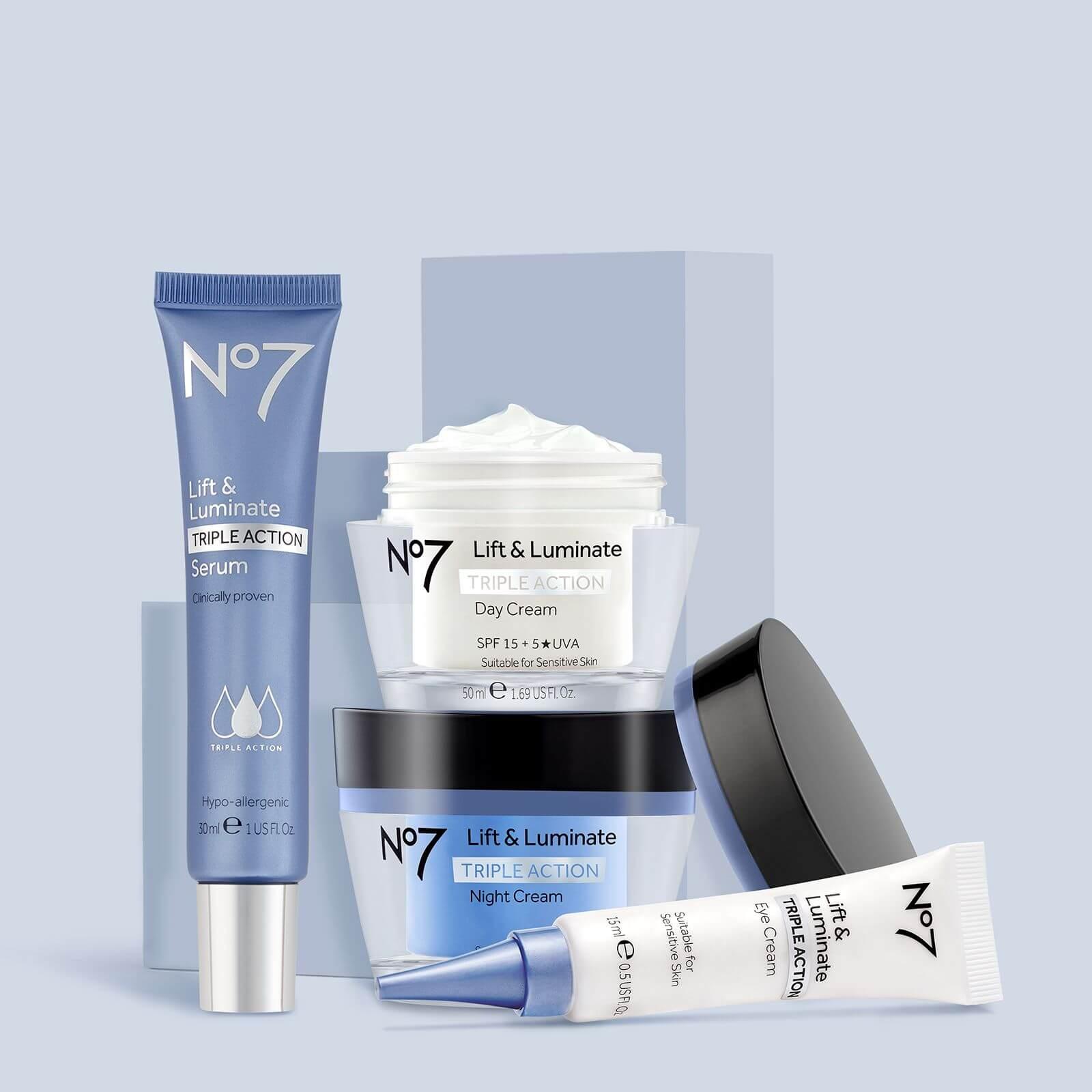 No.7 Lift & Luminate Range: Serum, Eye Cream, Night Cream and Day Cream