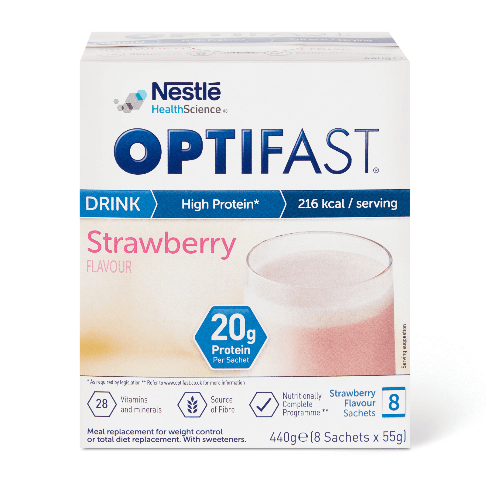 Image of the Strawberry flavour OPTIFAST drink