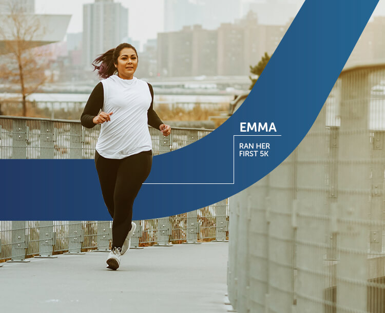 Image of a woman running her first 5k