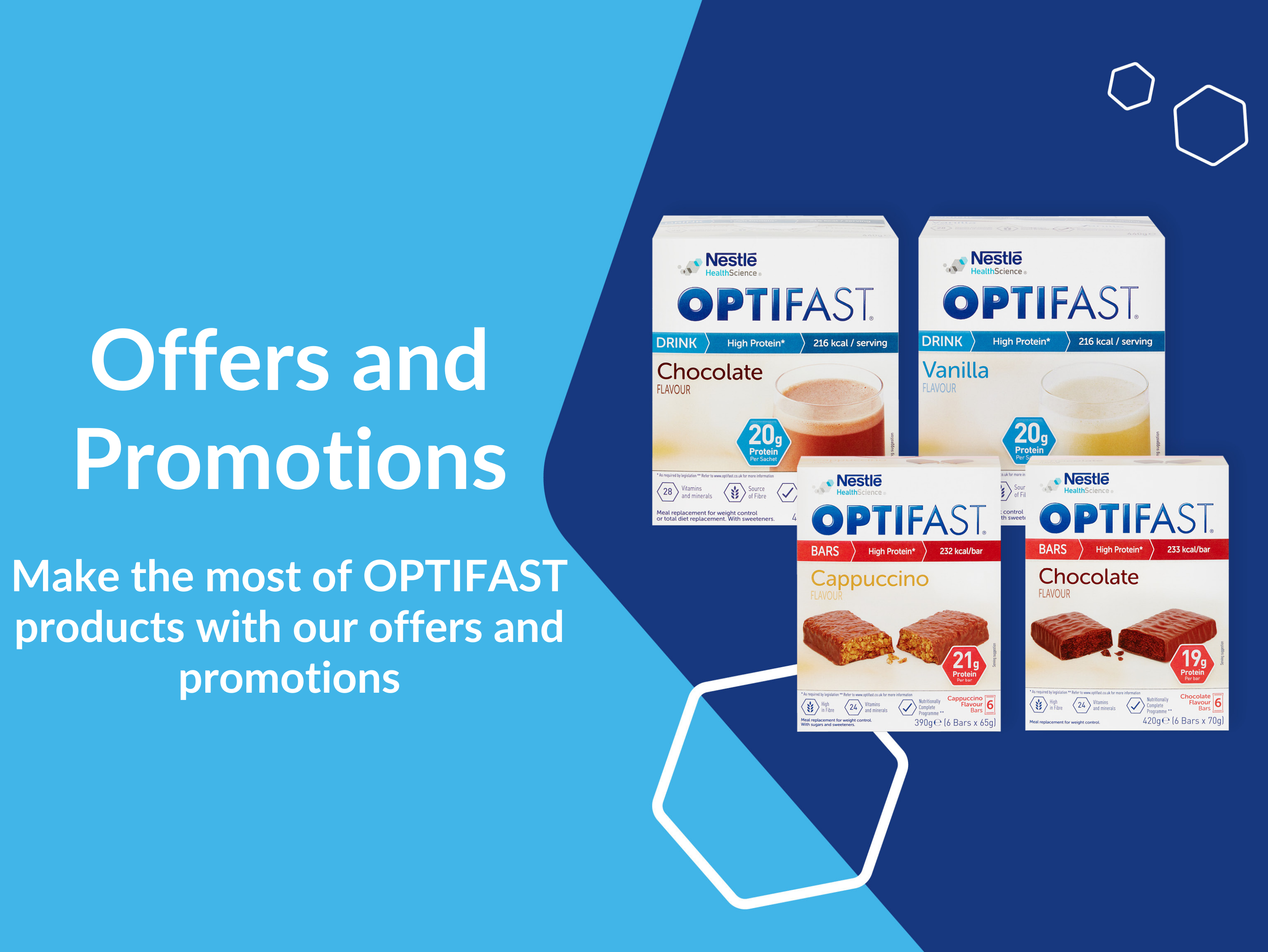 Offers and Promotions Banner, Image with Cereal Bars, Tomato Soup and Chocolate Shake