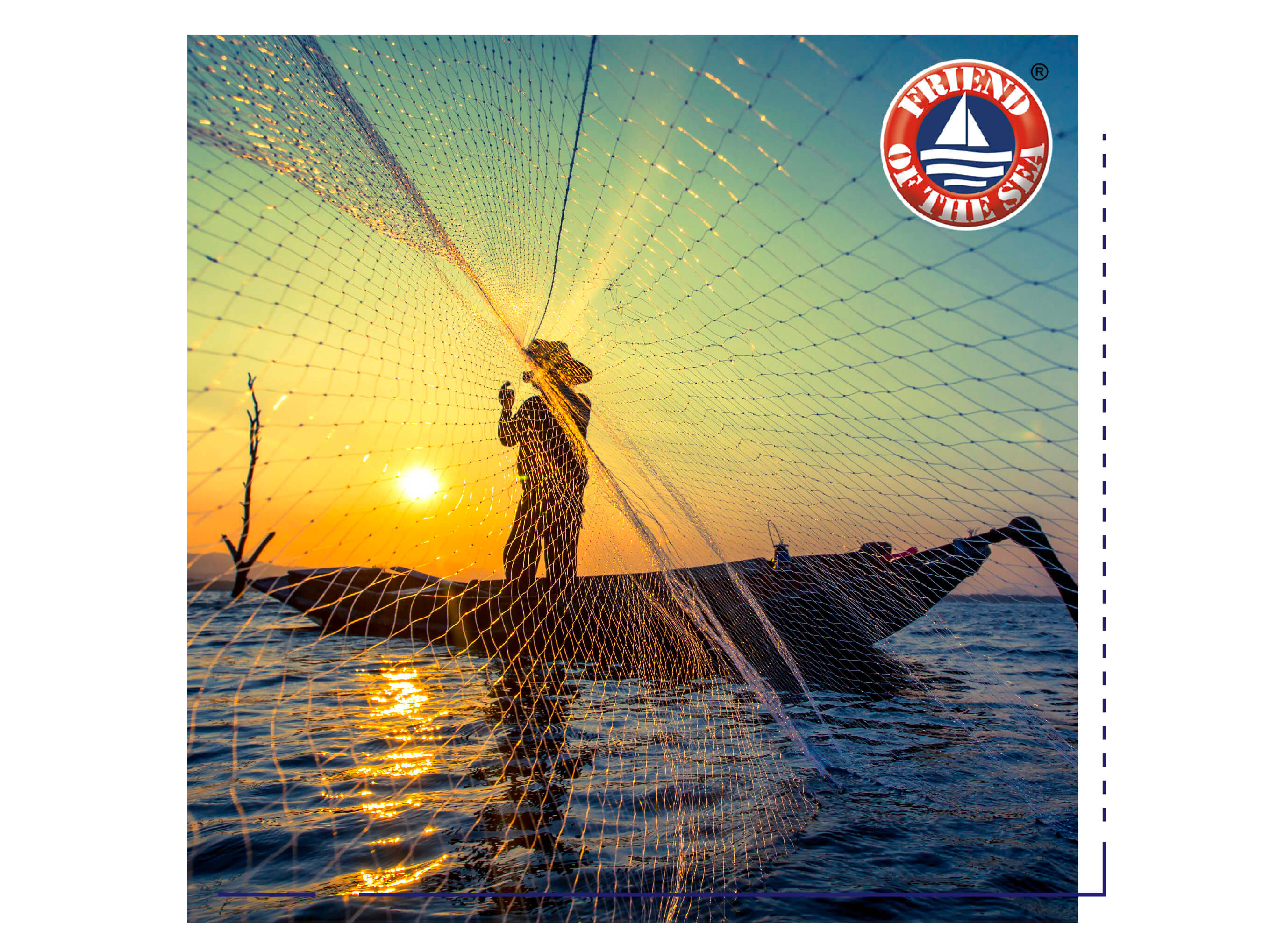 Fisherman on a boat, throwing fishing net