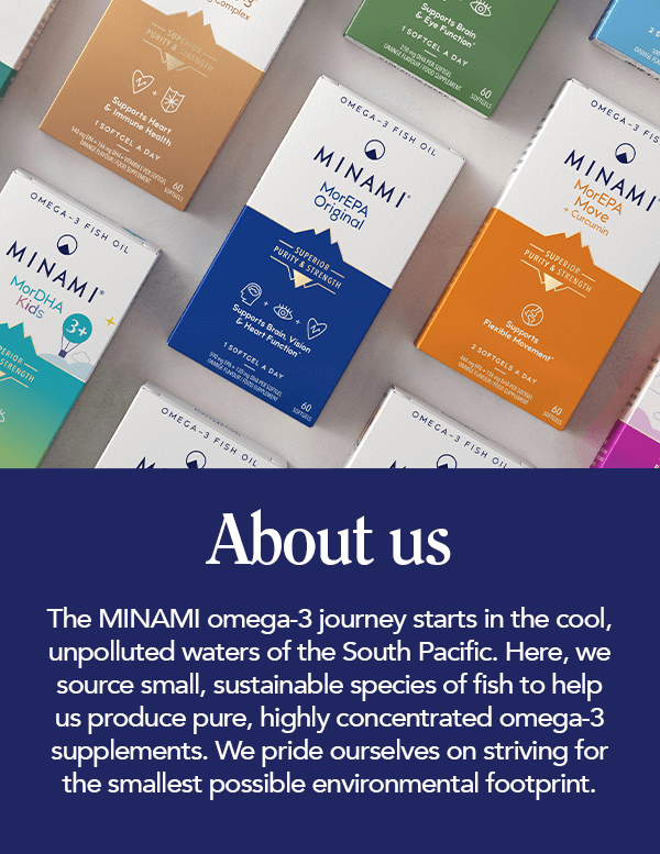 About us page banner - The minami omega-3 journey starts in the cool, unpolluted waters of the south pacific. Here, we source small, sustainable species of fish to help us produce pure, highly concentrated omega-3 supplements. We pride ourselves on striving for the smallest possible environmental footprint.