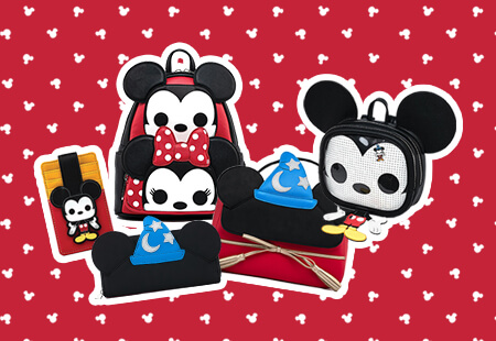 Loungefly New In Banner featuring Mickey Mouse Funko Pop and Fantasia collections