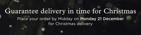 Guarantee delivery in time for Christmas. Place your order by midday on Monday 21st December for Christmas delivery.