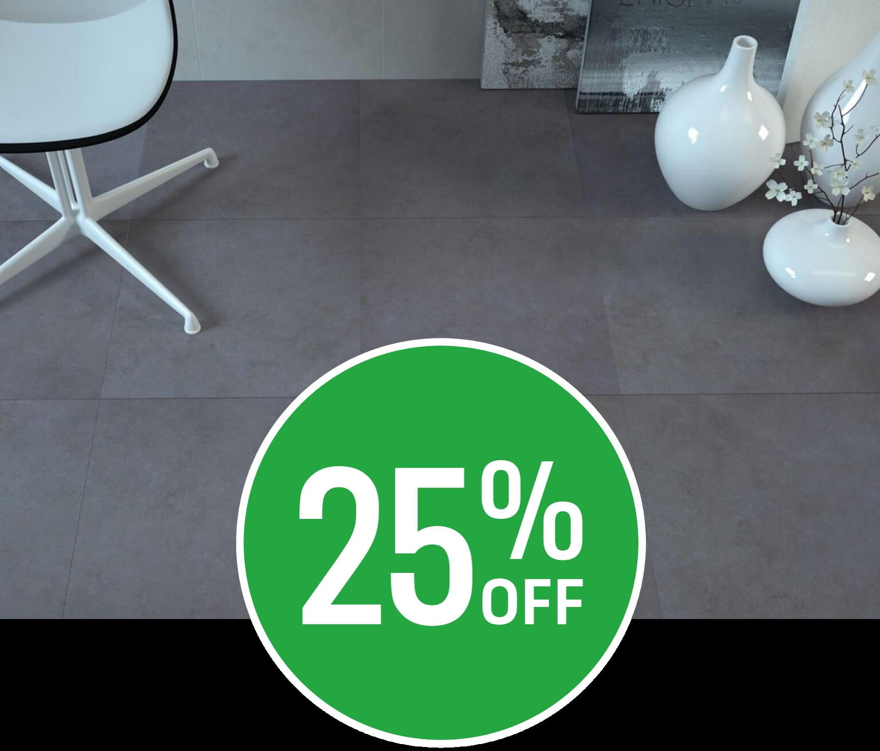 25% off Oast Anthracite Floor Tile 6 pack
