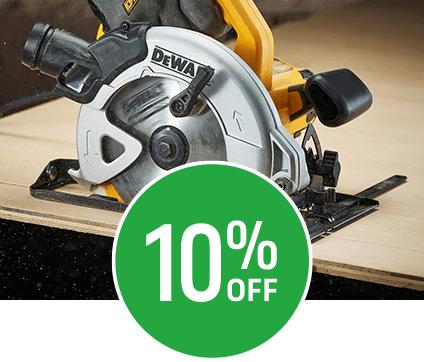Get 10% off selected DeWalt Power Tools