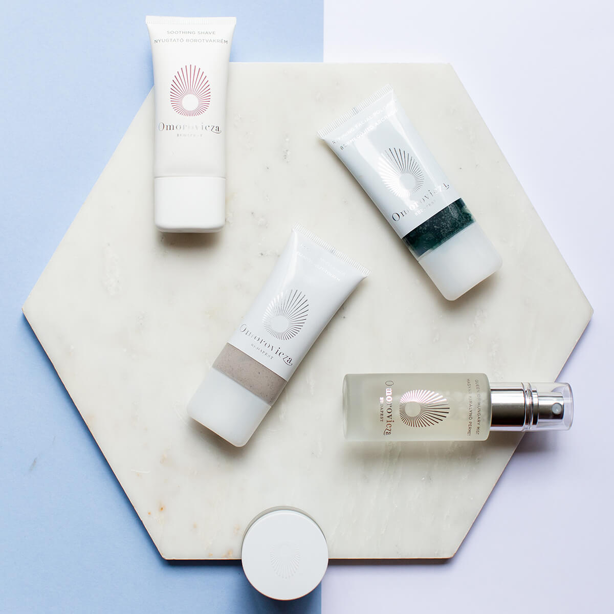 Omorovicza mini products, queen of hungary mist, soothing shave, refining facial polisher