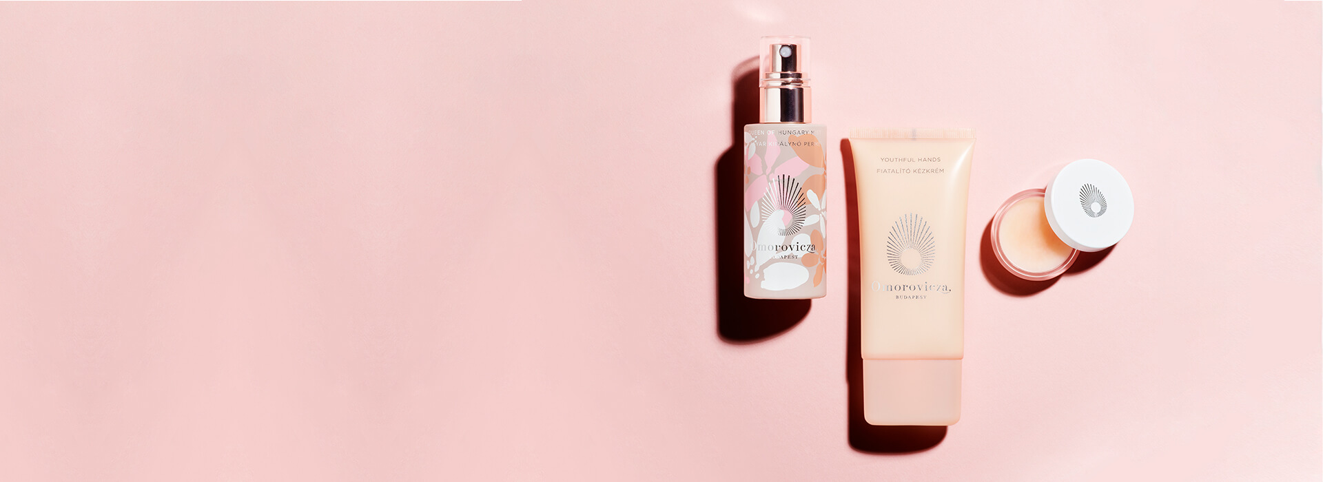Mother's Day Trio - Youthful hands, perfecting lip balm, queen of hungary mist pink flowers.