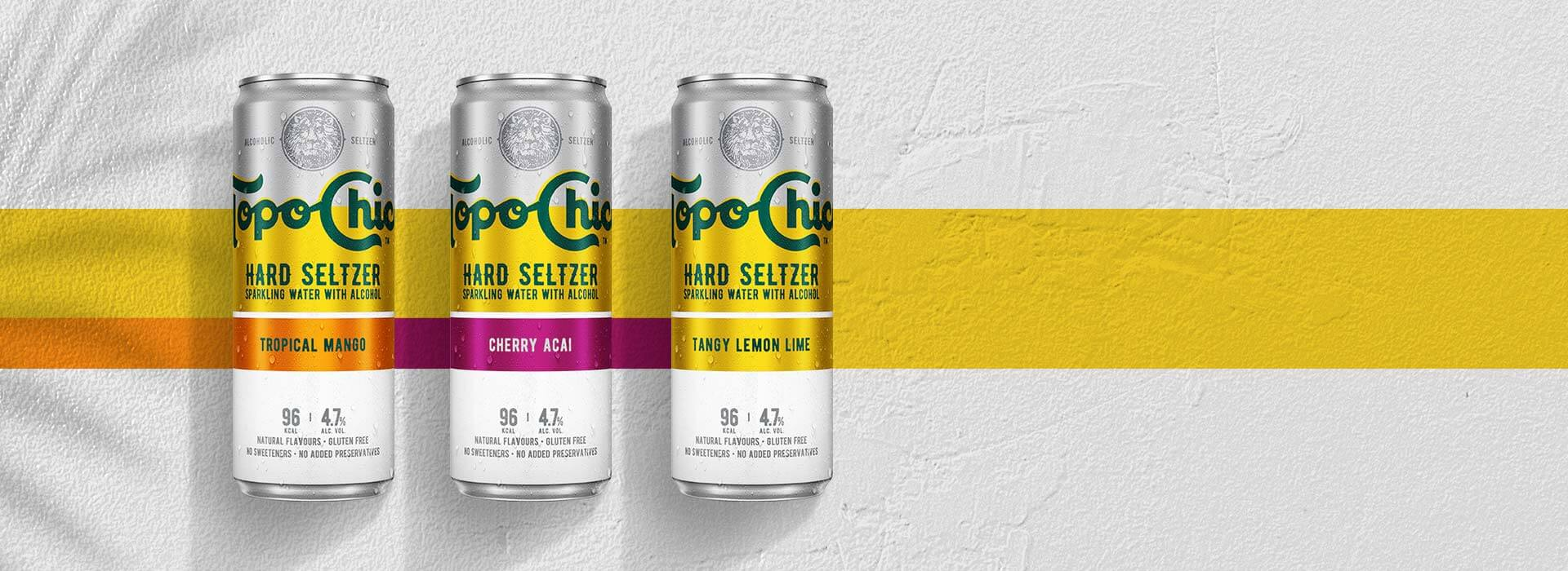 Three cans of Topo Chico