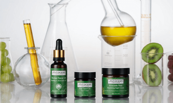 Divine face oil, kiwi seed oil eye cream, avocado pear night cream and test tubes