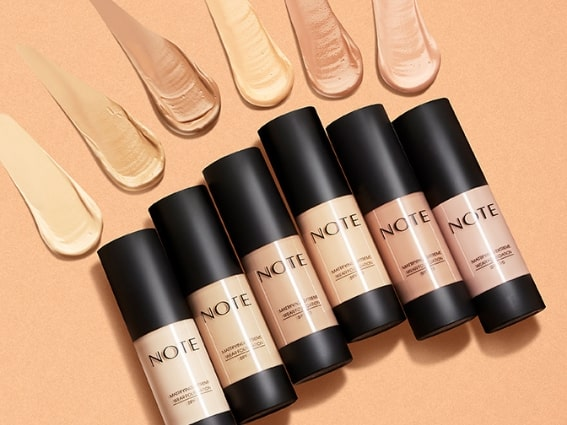 Various Note Cosmetics foundation shades