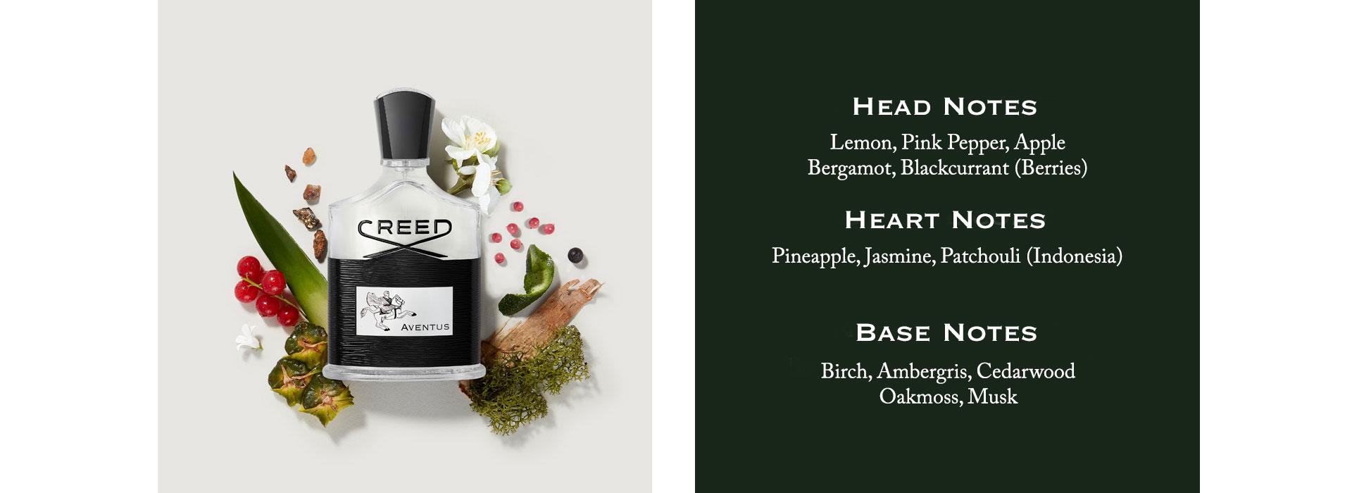 Head Notes: Lemon, Pink Pepper, Apple, Bergamot, Blackcurrant (Berries). Heart Notes: Pineapple, Jasmine, Patchouli (Indonesia). Base Notes: Birch, Ambergris, Cedarwood, Oakmoss, Musk.