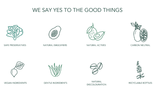 We say yes to the good things. Safe preservatives logo, natural emulsifiers logo, natural actives logo, carbon neutral logo, vegan ingredients logo, gentle ingredients logo, natural discolouration logo, recyclable bottles logo.